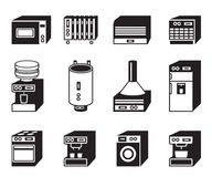 Household appliances icon set Royalty Free Stock Photos