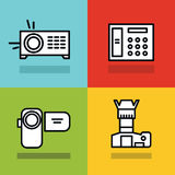 Household appliances icons with black stroke on color background Stock Photography