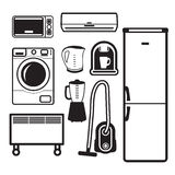 Household appliances icons. Icons electrical appliances for the home Stock Photos