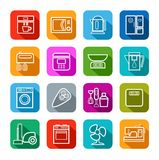 Household appliances, icons, line, color background. Stock Image