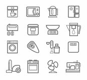 Household appliances, icons, line, white background. Royalty Free Stock Photography