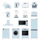 Household appliances icons. Household appliances, set of flat style icons Royalty Free Stock Images