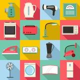 Household appliances icons set, flat style Stock Photos
