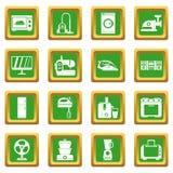 Household appliances icons set green Stock Photos