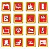 Household appliances icons set red Stock Images