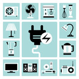 Household appliances icons. Set of vector electric household appliances icons Stock Photos