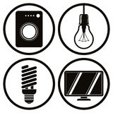 Household Appliances Icons Set, Washing Machine, Light Bulb, Ene Stock Photo