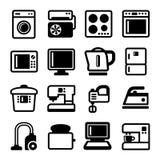 Household Appliances Icons Set on White Background Stock Photography