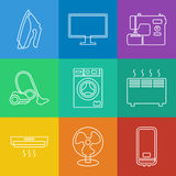 Household appliances icons. Vector linear icons collection of household appliances vector illustration