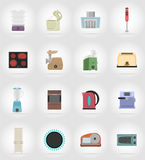 Household appliances for kitchen flat icons vector illustration Stock Image