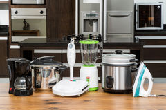 Household appliances in a kitchen. Kitchen appliances set for the home Royalty Free Stock Photo
