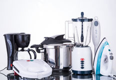 Household appliances  on a neutral background. Kitchen appliances set for the home in white background Stock Photography