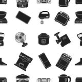Household appliances pattern icons in black style. Big collection of household appliances vector symbol stock Royalty Free Stock Image