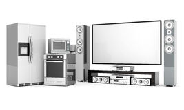 Household appliances. Picture of household appliances on a white background Stock Image