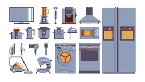 Household appliances set. All kinds of electronics as fridge, vacuum cleaner, cooker and others Stock Photos