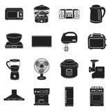 Household appliances set icons in black style. Big collection household appliances vector symbol stock illustration Stock Image