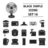 Household appliances set icons in black style.  Royalty Free Stock Images