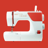 Household appliances - Sewing-machine red background Stock Photography