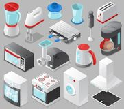 Household appliances vector kitchen homeappliance for house set cooker or washing machine in electric shop and microwave. In appliancestore isometric vector illustration