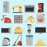 Household appliences color flat icons set. For web and mobile design Royalty Free Stock Photos