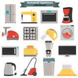 Household appliences color flat icons set. For web and mobile design Royalty Free Stock Image