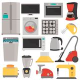 Household appliences color flat icons set. For web and mobile design Stock Photo