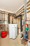 Household boiler house with heat pump, barrel; Valves; Sensors a Royalty Free Stock Photography