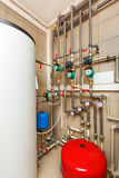 Household boiler house with heat pump, barrel; Valves; Sensors a Stock Photos