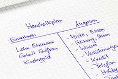 Household budget: Calculation of a family in german language Royalty Free Stock Images