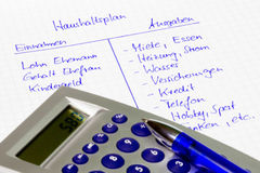 Household budget: Calculation of a family in german language Stock Images