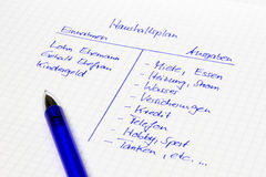 Household budget: Calculation of a family in german language Stock Photo