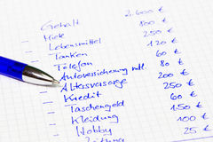 Household budget: Calculation of a family in german language Royalty Free Stock Photo