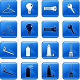 Household buttons. Collection of blue square everyday household objects rollover buttons Royalty Free Stock Images