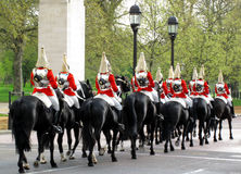 Household Cavalry. Preparing to change the guards at Buckingham Palace Royalty Free Stock Photo