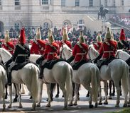 Household Cavalry taking part in the Trooping the Colour ceremony, London UK