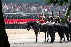 Household cavalry taking part in the Trooping the Colour ceremony, London UK. Photographed on a sunny day at Horse Guards Parade stock photo