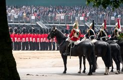 Household cavalry taking part in the Trooping the Colour ceremony, London UK. Photographed on a sunny day at Horse Guards Parade stock image