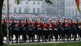 Household Cavalry taking part in the Trooping the Colour ceremony, London UK. Panoramic photo of Household Cavalry taking part in the Trooping the Colour stock photos