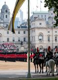 Household Cavalry taking part in the Trooping the Colour ceremony, London UK. Photographed on a sunny day at Horse Guards Parade, London UK stock photos