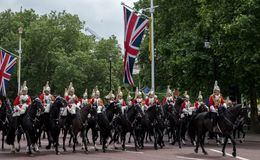Household Cavalry taking part in the Trooping the Colour ceremony in The Mall in front of Buckingham Palace, London UK. London UK. Household Cavalry taking part Stock Photography