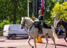 Household Cavalry walk along The Mall in London, England. Towards Buckingham Palace.  The parade of the Horse Guards is very popular with visitors Royalty Free Stock Photo