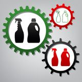 Household chemical bottles sign. Vector. Three connected gears w royalty free illustration