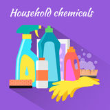 Household Chemical Flat Design Stock Photography