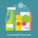 Household Chemical Flat Design Stock Photos