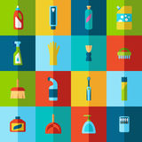 Household chemicals and cleaning supplies bottles vector flat half icons Stock Photography