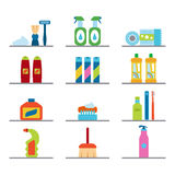 Household chemicals and cleaning supplies bottles vector flat icons Royalty Free Stock Image