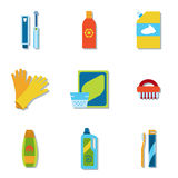 Household chemicals and cleaning supplies bottles vector flat icons Stock Photos