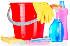 Household chemicals, gloves and cloth close-up Royalty Free Stock Photography