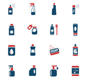 Household chemicals icon set Stock Photography
