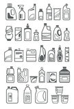 Household chemicals icons. Household chemicals and cleaning supplies bottles icons Stock Images